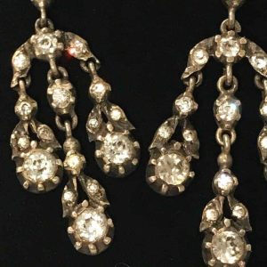A stunning pair of Georgian Silver and Paste chandelier long drop earrings C1800