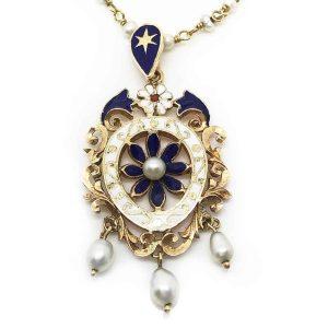 An Exquisite 18ct, 18k, 750 Gold lavalier Pearl & Enamel pendant & chain