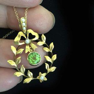 Antique, Belle Epoque 15ct Gold Peridot & Pearl Lavalier, pendant on 9ct Chain