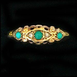 Antique, Edwardian 9ct, 9k, 375 Gold Turquoise & Diamond boat ring, C1910 by HBJ