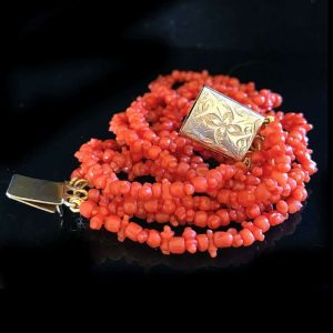 Antique, Georgian, Genuine Red coral bracelet on Gold foliate clasp