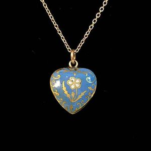 Antique, Georgian Gold & Enamel heart, locket charm with hair compartment verso