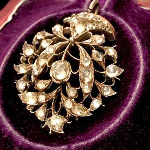 Antique, Georgian rose-cut paste pendant mounted in Silver & 15carat gold, C1790