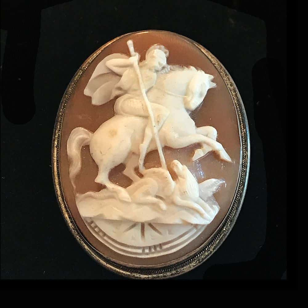 Antique, Italian Silver Cameo of St George and the dragon brooch, Circa 1860
