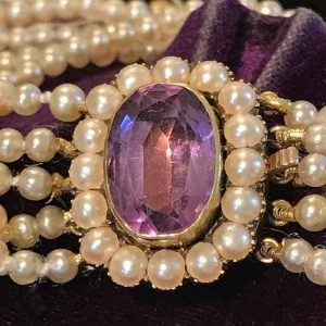 Antique Saltwater Pearl 5 row bracelet with gold Rose de france and Pearl clasp.
