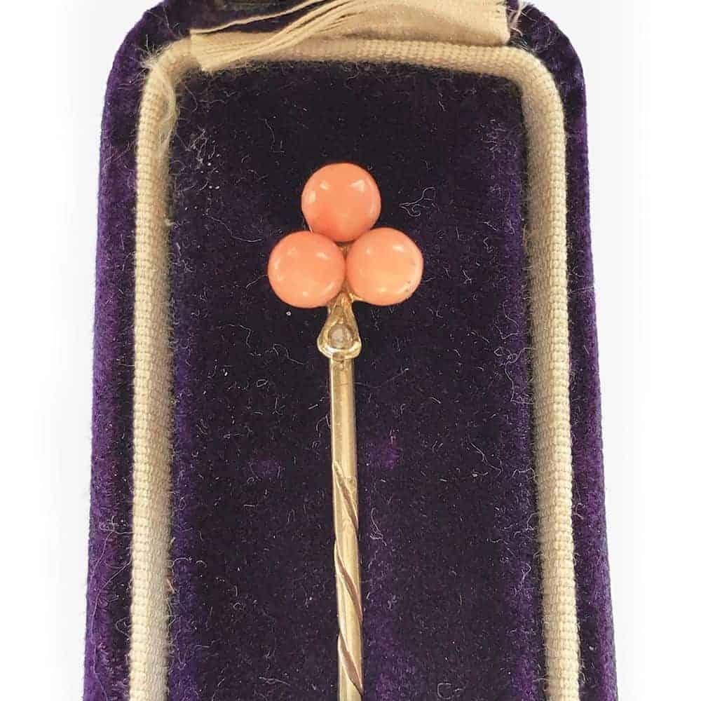"""Antique Victorian 15ct, 15k, 625 Gold Coral & Diamond """"Fleur De Lys""""  Stickpin"""