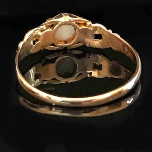 Antique, Victorian 15ct, 15k, 625 Gold Ruby & Opal ring, Circa 1840