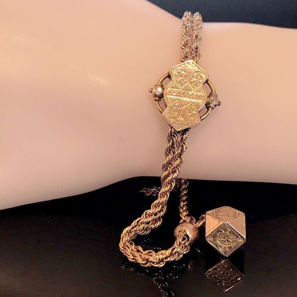 Antique, Victorian 15ct, 15k, 625 Rose Gold Albertine bracelet, Circa 1885