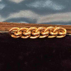 Antique, Victorian 9ct, 9k, 375 Gold Chain Knot bar brooch, Circa 1890