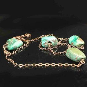 Antique, Victorian 9ct, 9k, 375 Rose Gold & Matrix Turquoise chain, C1880