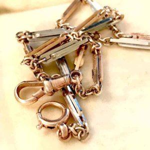 Antique, Victorian 9ct, 9k, 375 Rose & white Gold Trombone link, Watch chain