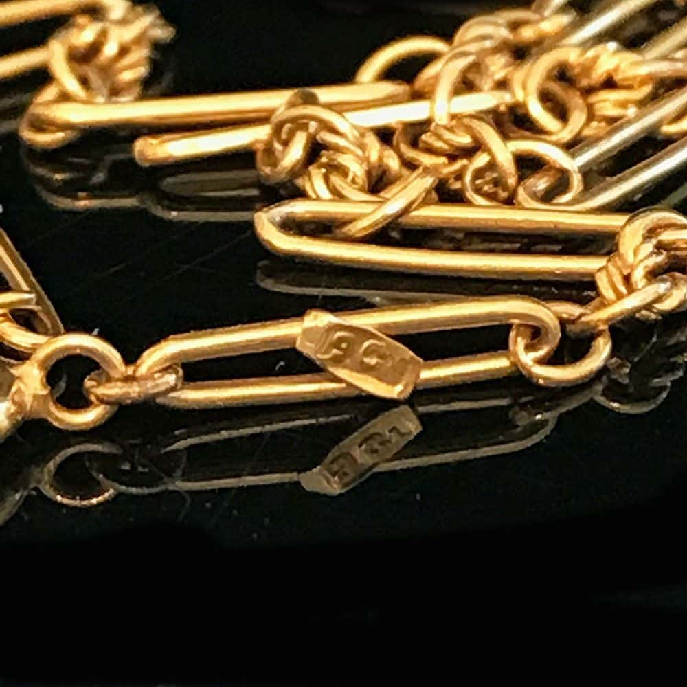 Antique, Victorian 9ct, 9k, 375 Yellow Gold fancy link chain, Circa 1895