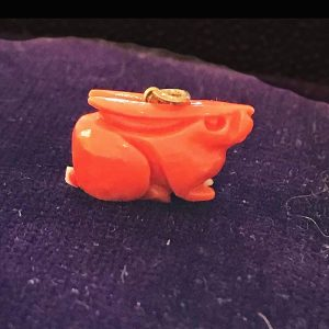 Antique, Victorian Coral charm of a Rabbit / hare with gold fittings, inc UK VAT