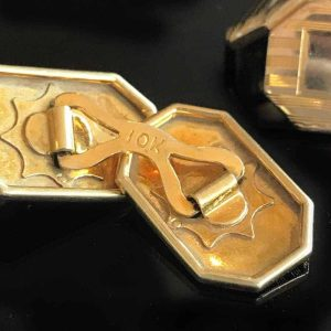 Art deco 10ct, 10k, 416 Gold engine turned Cufflinks in new presentation box