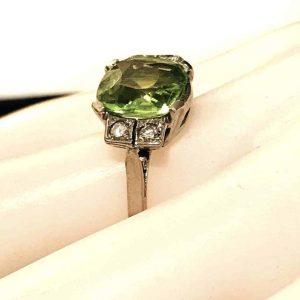 Art Deco 14ct White Gold Peridot & Diamond Cocktail, dress ring, C1930