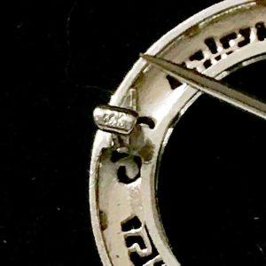 Art Deco 14k , 14ct, 585 Gold Diamond & Enamel filigree bow motif brooch, pin