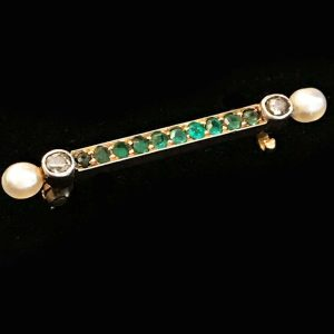 Art Deco 15ct, 15k, 625 Rose Gold Emerald, Diamond & Pearl bar brooch, C1920