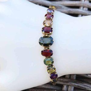 """Art Deco 15ct, 15k, 625 Rose gold Multi Gem articulated bracelet, 7.25"""" /18.5cm"""