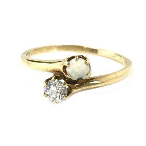 Art Deco 18ct, 18k, 750 Gold Diamond & Opal (0.40ct) two stone engagement ring. Circa 1930