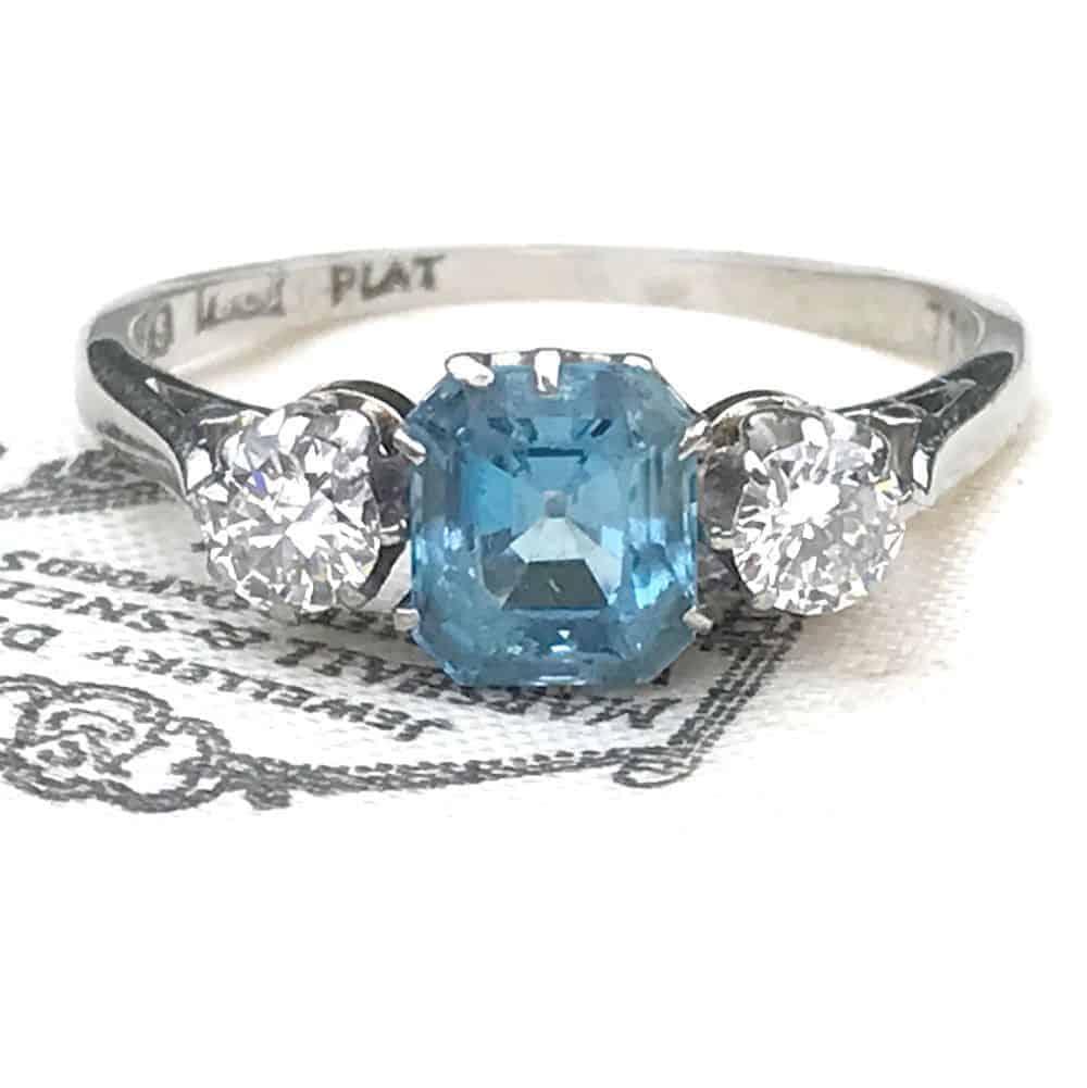 Art Deco 18ct, 18k, 750 Gold & Plat Diamond & Aquamarine 3 stone engagement ring