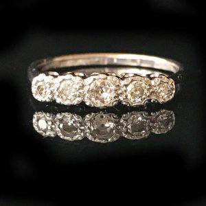 Art Deco, 18ct, 18k, 750 Gold & Plat Diamond five stone engagement ring, c1920