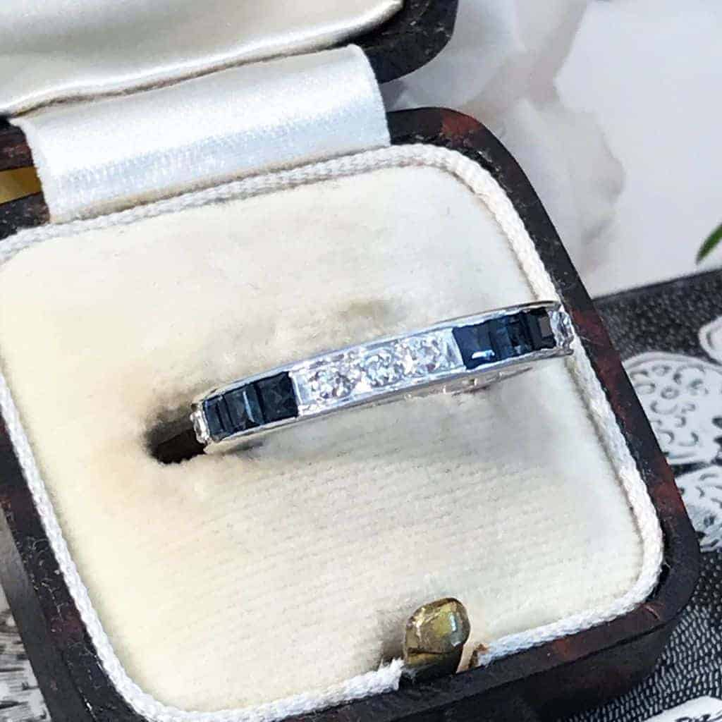Art Deco 18ct, 18k, 750 Gold Sapphire & Diamond full Eternity, anniversary Ring