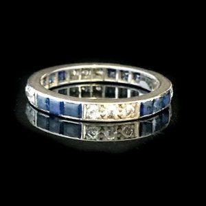 Art Deco 18ct, 18k, 750 Gold Sapphire & Diamond full Eternity Ring, C1920