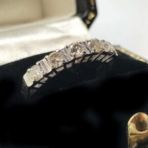 Art Deco 18ct, 18k, 750 White Gold Diamond 0.50ct Eternity, 5 stone Ring C1920's