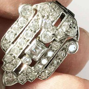 Art Deco 18ct, 18k, 750 White Gold Diamond 1.55ct encrusted brooch, pin C1920's
