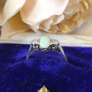 Art Deco 18ct, 18k Gold & Platinum Opal & diamond 3 stone engagement ring, C1930