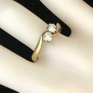 Art DECO 18ct Gold Diamond (0.40ct) two stone engagement ring.  Circa 1930