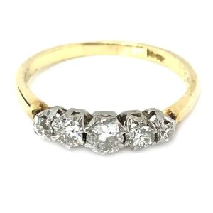 Art Deco 18ct Gold Diamond five stone engagement ring C1930