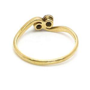 Art Deco 18ct Gold Diamond twist, cross over ring, Circa 1935