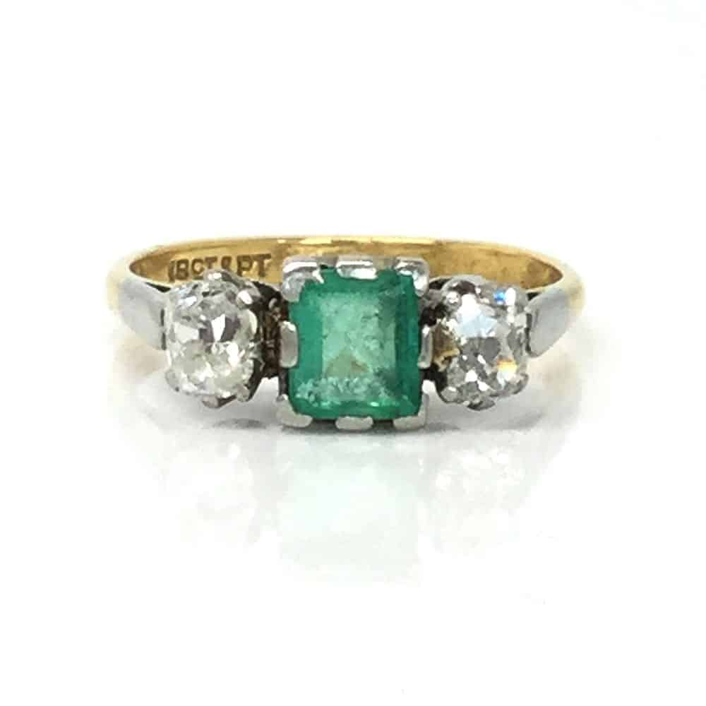 Art Deco 18ct Gold Emerald & Diamond 1.10ct three stone engagement ring, C1920