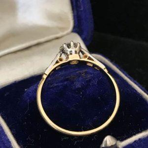 Art Deco 18ct, Gold & Platinum Diamond solitaire 0.35ct engagement ring, C1920
