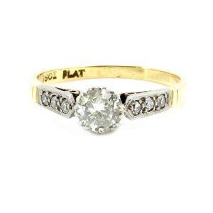 Art Deco 18ct & Platinum Diamond 0.50ct Solitaire ring