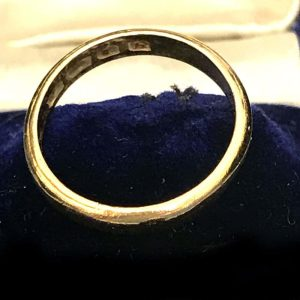 Art Deco 22ct, 22k, 980 solid yellow gold wedding ring, band 3g, H/M 1963