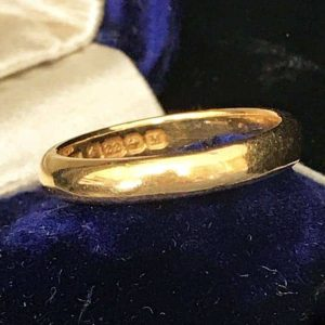Art Deco 22ct, 22k, 980 solid yellow gold wedding ring, band 4.4g, H/M 1936