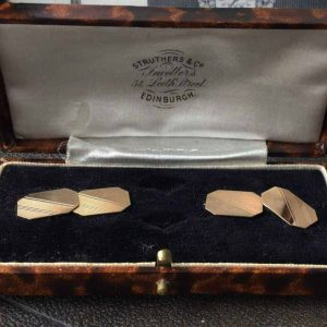 Art Deco 9ct, 375 Gold Cufflinks in Antique box - Maker ACC