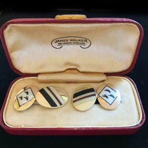 Art Deco 9ct, 9k, 375 enamel Crest & stripes cufflinks in box