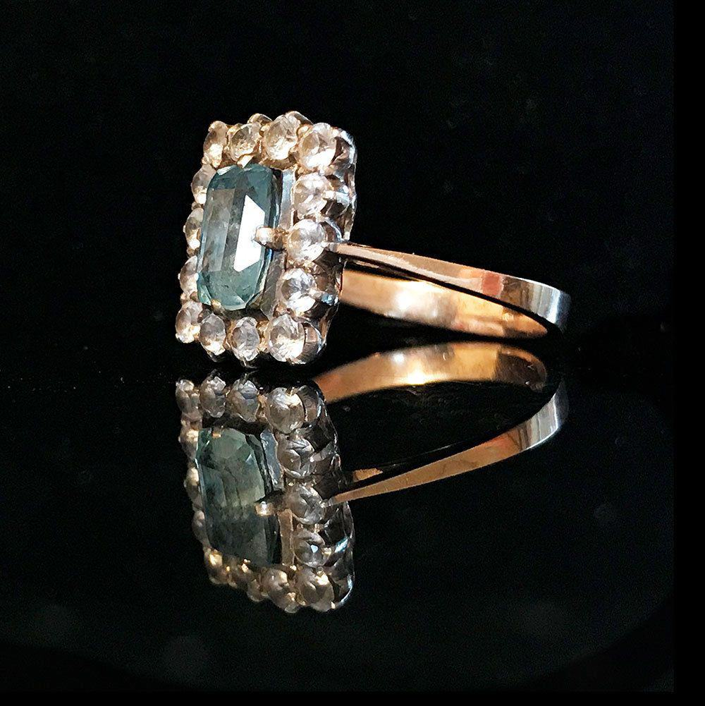 Art Deco, 9ct, 9k, 375 Gold Blue & white stone ring with detailed setting c1920