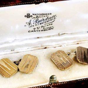 Art deco 9ct, 9k, 375 Gold engine turned Cufflinks in original box