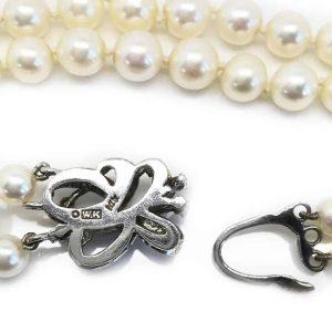 Art Deco Cultured Pearl Akoya necklace on Diamond clasp