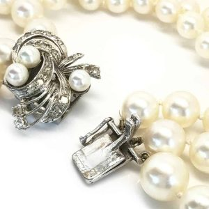 Art Deco Cultured Pearl Necklace on 18ct White Gold Diamond clasp