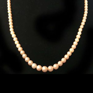 Art Deco Cultured Saltwater Pearl necklace on 9ct, 375 Gold diamond clasp, C1930