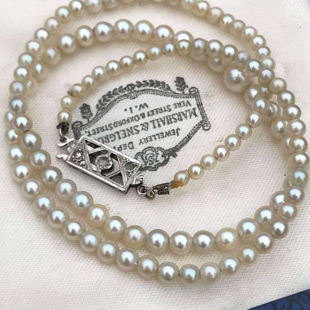 Art Deco Cultured Saltwater Pearl necklace with diamond clasp, Circa 1930