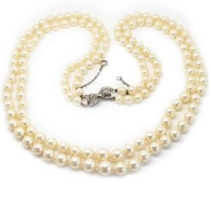 Art Deco Double row Cultured Pearl necklace with 14k Diamond clasp