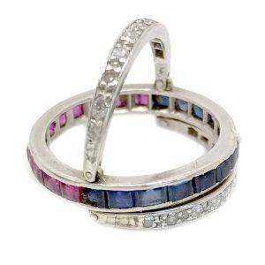 Art Deco Platinum Diamond Sapphire & Ruby Day & Night ring
