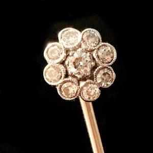 Art Deco platinum & gold Diamond cluster, daisy stick, tie, cravat, lapel pin