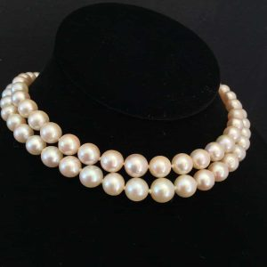 Art Deco Saltwater Cultured Akoya 6-9.3mm Pearl Necklace,18ct Diamond 1.00ct clp